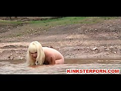 Outdoor BDSM Torments Humiliation of Chained Slave Olivia