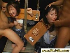 Asian Slaves Are Bound And Get Some Hot Rough Throat Fucking