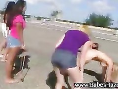 Naughty college girls play outdoor games
