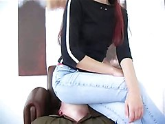 hot german babe jeans facesitting