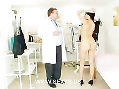 Skinny brunette in docto anal exam