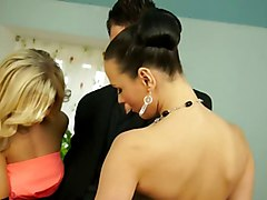 Two girls fucked in satin dress