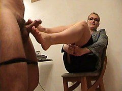 Blond teacher footjobs student exam
