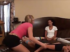 two girls tickle pretty socks