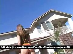 Adorable blonde chick outside goes inside the house