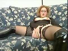 great blond italian milf in glasses and stockings fucked