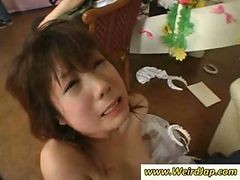 Petite Asian Maid Is Roughly Forced To Suck Cock And Get Facial