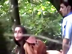 young couple gets caught fucking doggystyle in the wood