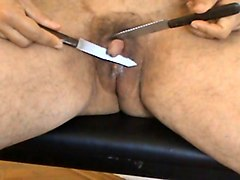 knives... pain & pleasure to hermaphrodite's big clit