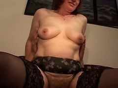 Hairy Mature Redhead In Glasses And Stockings Fucks