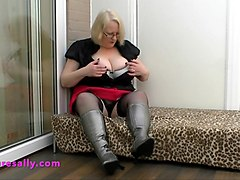 silver boots and black stockings