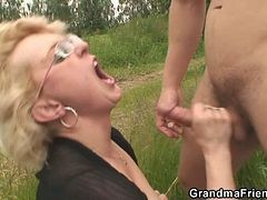 Old Whore Is Double Fucked Outdoors