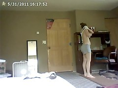 swimsuit change caught on security cam