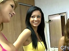 three cute college chicks sucking cock off in a dorm room