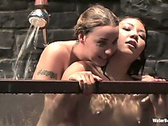 Crazy fetish porn scene with best pornstars Delilah Strong and Keeani Lei from Waterbondage