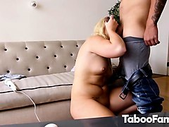 petite chubby blonde honey caught with a vibrator and fucked