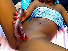 Black colombian girl with pink open cunt playing with dildo