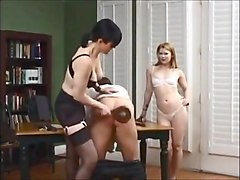 Nice Ladys give Man Spanking in the Room (part2)