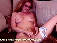 red head milf gets off with finger hard on couch