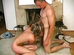 Young couple is going after it in a friend's apartment for fun