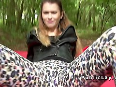 Blonde in knickers gets fucked outdoor