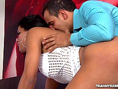 busty latin shemale banged in her ass