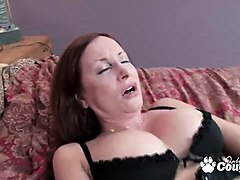red headed cougar gives herself intense orgasm