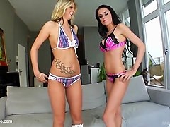 Celia Jones and Cindy X in threesome gonzo fuck scene with cum swapping end on Sperm Swap