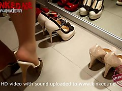 shoejob slut showing her heeljob mules collection