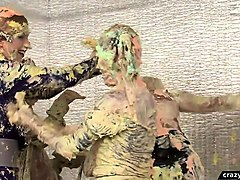 classy eurobabes get messy in bizarre food fight