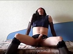 Horny Homemade Shemale record with Stockings, Brunette scenes