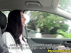 pickedup euro youngster rides cock in the car