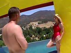 Blonde in swimsuit sucks and fucks big cock