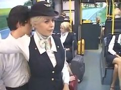 Busty Stewardess Hot Handjob
