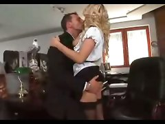 Blonde Secretary Rides In Stockings