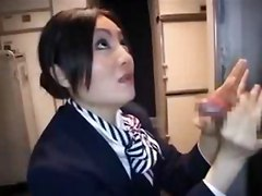 Jpn Stewardess Gives A Handjob On Plane