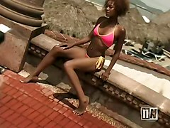 Hot Black Chick Swimsuit Model